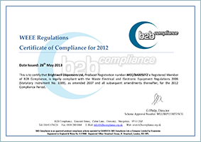 WEEE certificate of compliance 2012