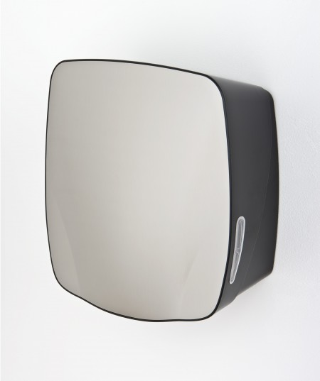 Hand towel dispenser with stainless steel finish