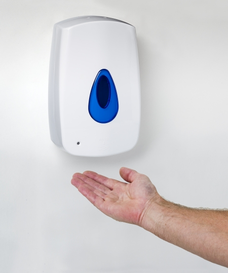Soap dispenser hand blue right