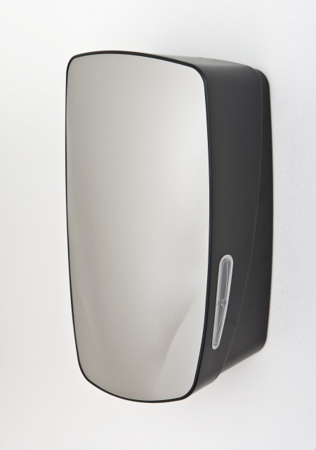 Multiflat toilet paper dispenser with stainless steel finish